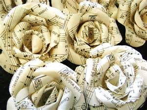 Country Stars Decorations For The Home vintage hymnal or sheet music paper flowers set bulk lot of