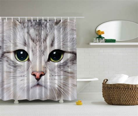 cat shower curtains white kitten cat close up face green eyes pet whiskers