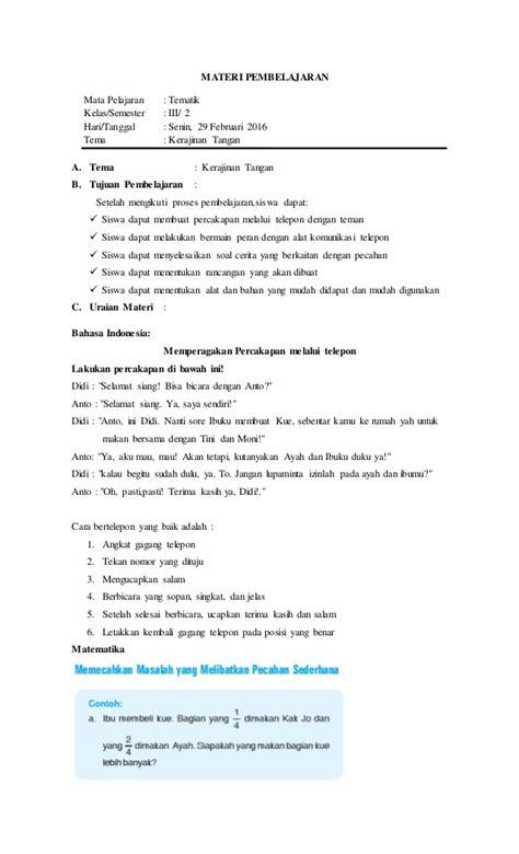 Panduan Belajar Tematik Untuk Sd Kelas 111 Semester 2 Ktsp 2006 rpp tematik kelas iii semester 2