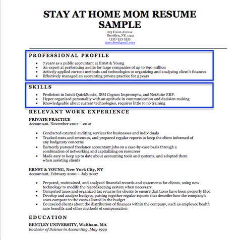 sle resume for stay at home 100 resume for a stay at home exles of a resume for