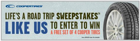 New Sweepstakes To Enter - cooper tires life s a road trip sweepstakes win a set of