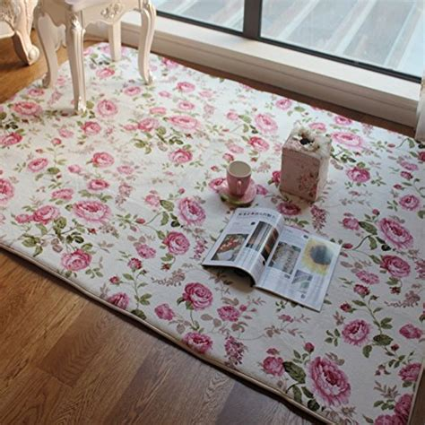 Shabby Chic Kitchen Rugs Fadfay Home Textile American Country Style Floral Room Floor Mats Sweet Pink Print