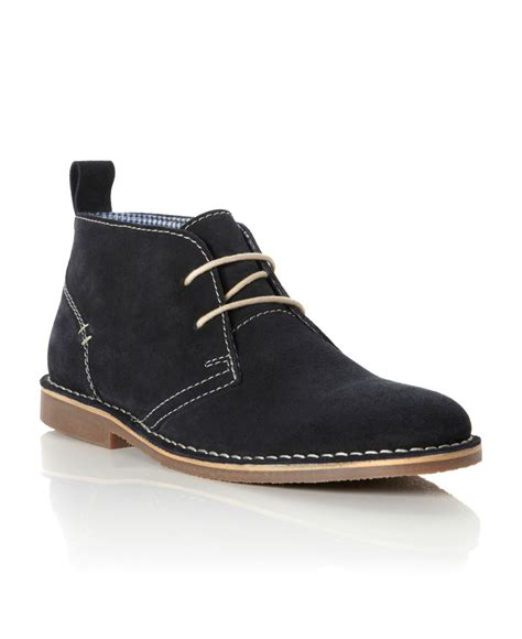 howick hstead suede lace up desert boots in blue for