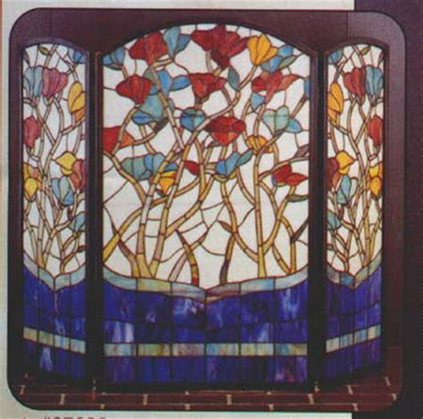 stained glass floral fireplace screen glasshouse