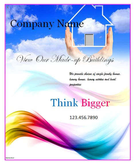 ms word templates for posters real estate poster template microsoft word templates