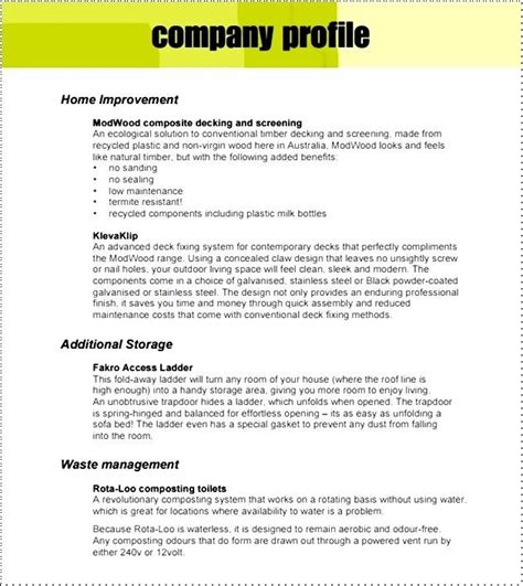 company profile sles find word templates