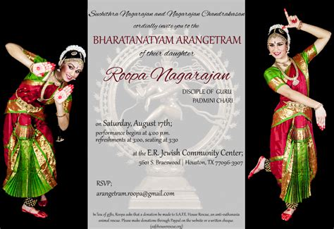 Arangetram Invitation Roopa Nagarajan Arangetram Invitation Templates