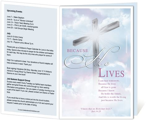 templates for church programs 14 best images about printable church bulletins on