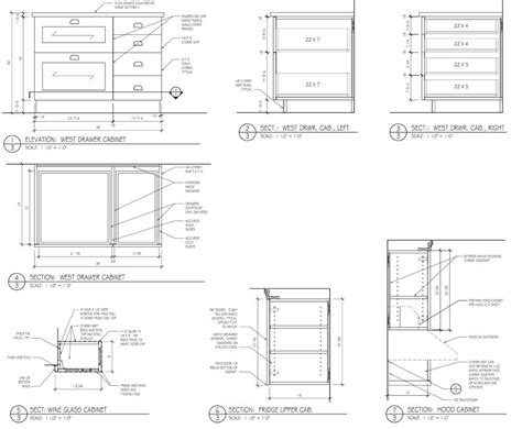 technical drawing section cabinet dimensions kitchen spreadsheet minimalist design
