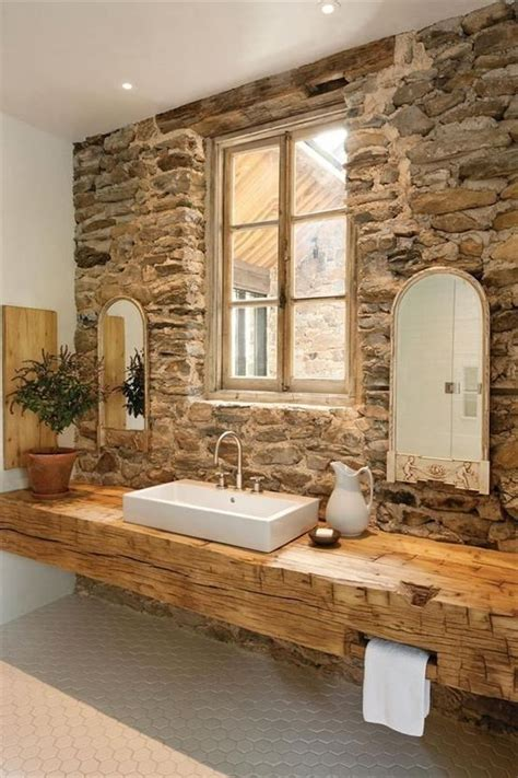 rustic bathroom countertops feature wall stone bathrooms feature walls pinterest