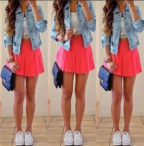 girly jean jacket pink skirt white sneakers black