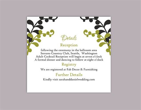 enclosure cards details for wedding free template diy wedding details card template editable text word file