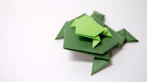 Origami Frog Easy - how to fold an easy origami jumping frog traditional