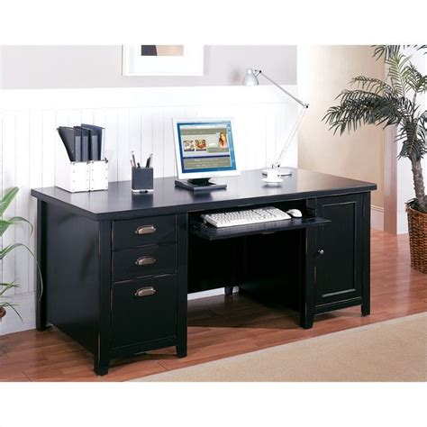 Kathy Ireland Computer Desks Kathy Ireland Home By Martin Tribeca Loft Pedestal Wood Computer Desk In Black Tl685
