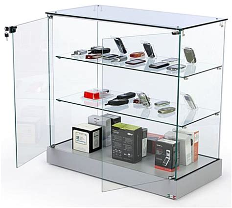 door swing counter store glass counter silver base frameless display