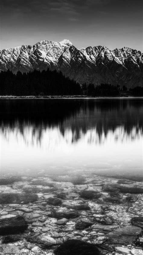black  white snow mountain lake android wallpaper