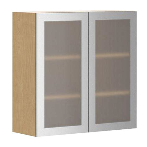 Kitchen Cabinet Door With Glass Eurostyle Ready To Assemble 30x30x12 5 In Copenhagen Wall Cabinet In Maple Melamine And Glass
