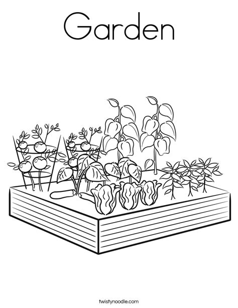 Garden Coloring Page Twisty Noodle Vegetable Garden Coloring Pages