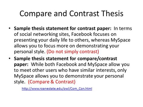 Sle Of Compare And Contrast Essay With Thesis Statement compare and contrast paper ppt