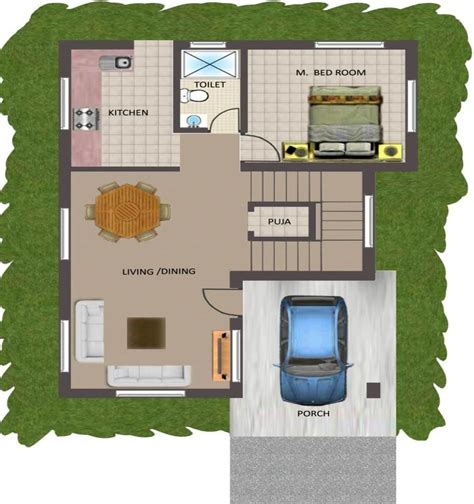 2 bhk plan in 800 sq ft
