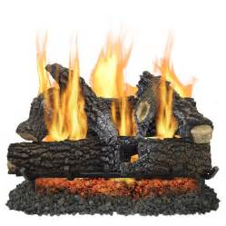Fireplace Logs Lowes shop pleasant hearth 30 in 65000 btu pan vented gas
