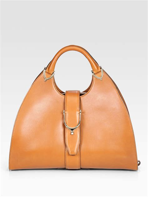 If The Spice Were Handbags by Gucci Stirrup Medium Top Handle Bag In Brown Spice Lyst