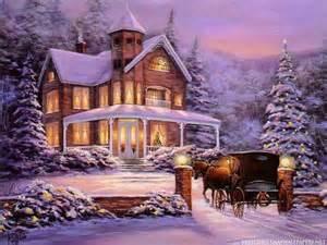 Christmas christmas tree horse house lights painting snow