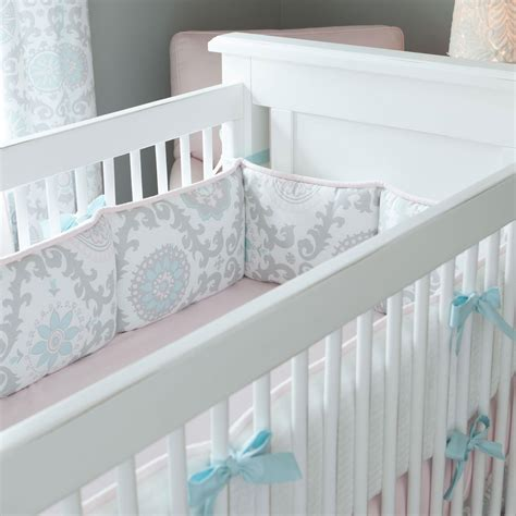 Pink And Gray Rosa Crib Bumper Carousel Designs Baby Bumpers For Crib