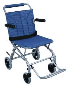 Medical super light folding transport chair with carry bag blue