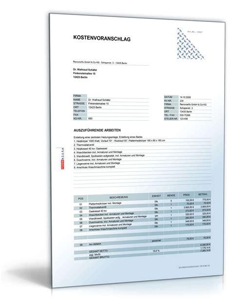 Angebot Immobilie Muster Kostenvoranschlag Heizung Gas Und Sanit 228 Rarbeiten