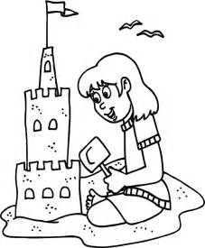 Transmissionpress little girl playing sand in summer coloring pages