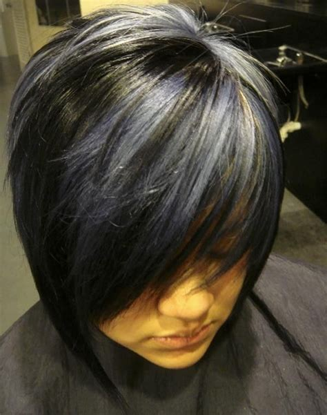 short blonde bob with darker bottom short black hair with highlight like the black and blonde