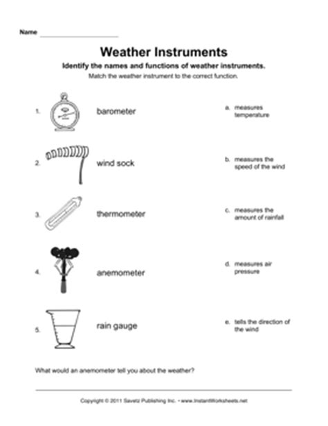 Weather Tools Worksheet by Weather Instruments Teaching Tools Weather