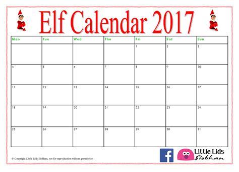 printable elf on the shelf calendar 2017 little lids siobhan