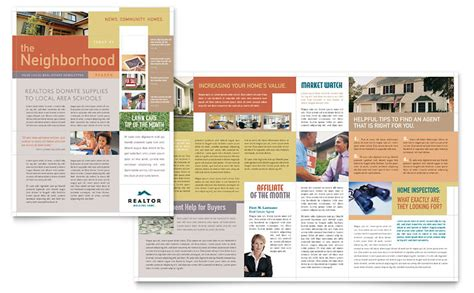 Realtor Real Estate Agency Newsletter Template Word Publisher Free Magazine Layout Templates For Publisher