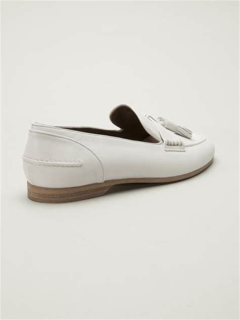 white tassel loafers lanvin tassel loafers in white lyst
