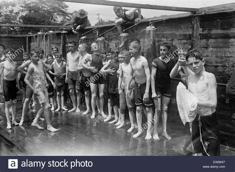 Shower Boys by Boys C Shower Usa 1915 Stock Photo Royalty Free