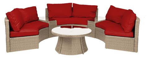 half moon chair cushions reef rattan half moon 6 pc curved bench sofa set
