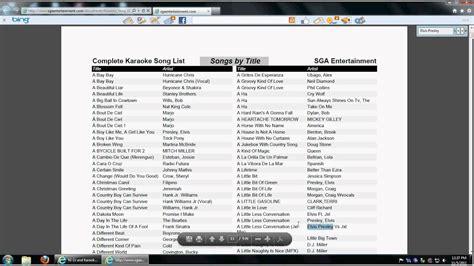 dowloadable karaoke song list tutorial youtube