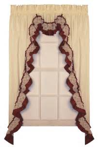Rustic Kitchen Valances - bj s country charm shirley ruffled swags ruffled swag curtains