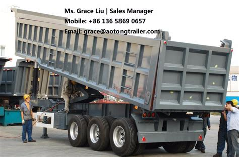 scow end tipper china manufacturer tractor use 2 3axles 20 60cbm tipper
