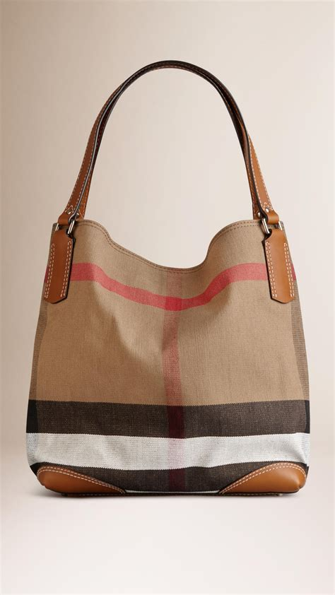 Burberry Check Canvas Tote by Burberry Medium Canvas Check Tote Bag In Brown Saddle