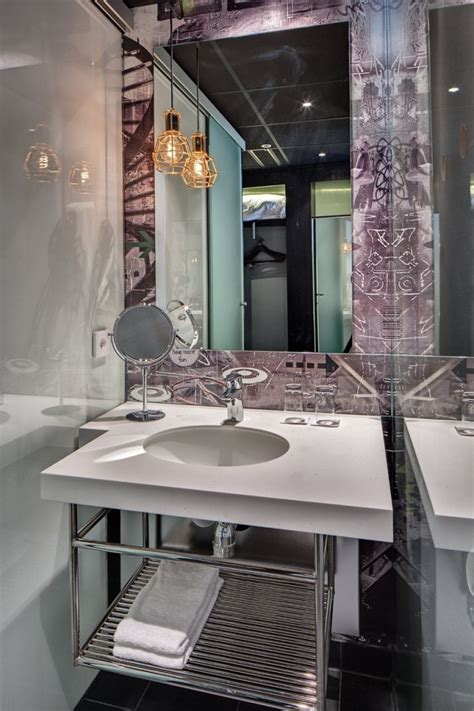 charming Small Home Decor Ideas #4: Luxury-Powder-Room-Design-with-Large-Frameless-Window-Over-Round-Sink-and-Stainless-Steel-Shelves-Below-Ideas1-682x1024.jpg
