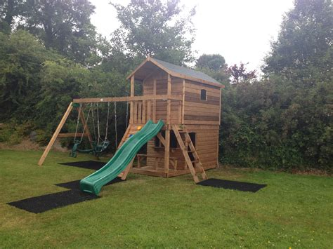 swing house tree house swing set play shop slide rock wall