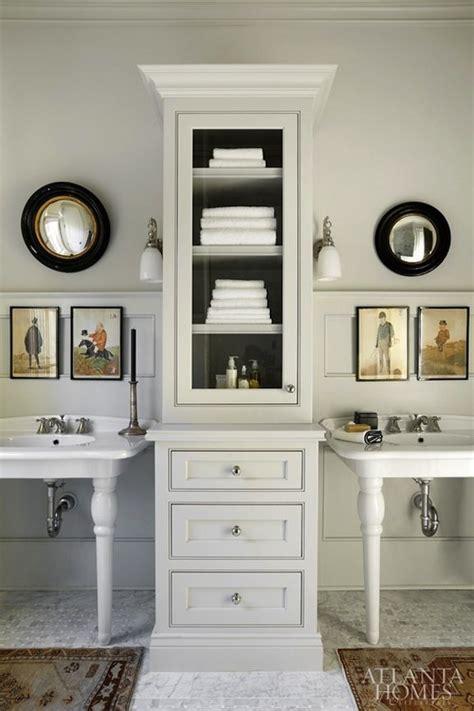 double pedestal sinks  tall cabinet
