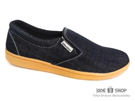 Lmbt55 Sepatu Casual Hitam 5 Cm by Jual Sepatu Casual Pria Slipon Hitam Jahit Putih Converse
