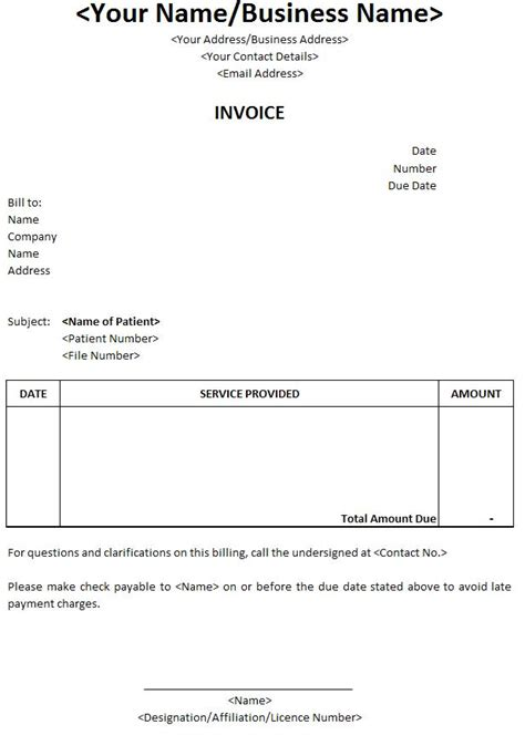 doctor invoice template