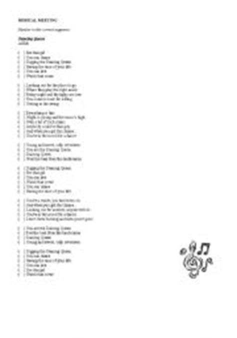printable lyrics dancing queen abba english worksheets song dancing queen abba with key