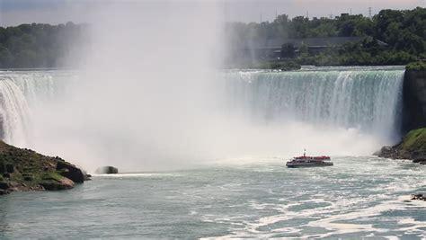 video of niagara falls boat tour niagara falls tour boat at the foot of horseshoe falls in