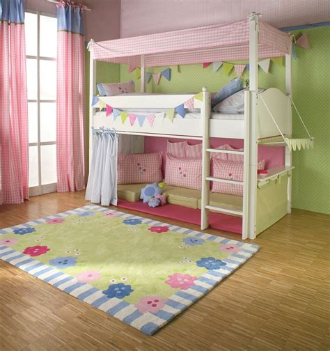 cute bunk beds girls cabin bed with canopy curtains and cushions the